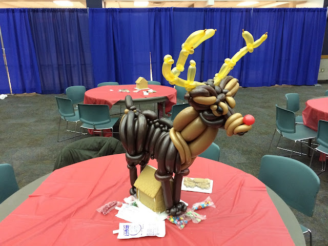 A balloon sculpture of Rudolph the Red Nose Reindeer by Balloon Artist of Utah