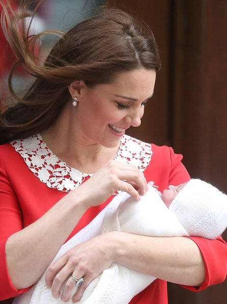 Kate Middleton, Duchess Catherine of Cambridge and Prince William, Duke of Cambridge departed the Lindo Wing with their baby boy at St Mary's Hospital