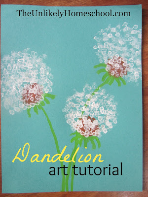 Dandelion Art Tutorial {The Unlikely Homeschool}
