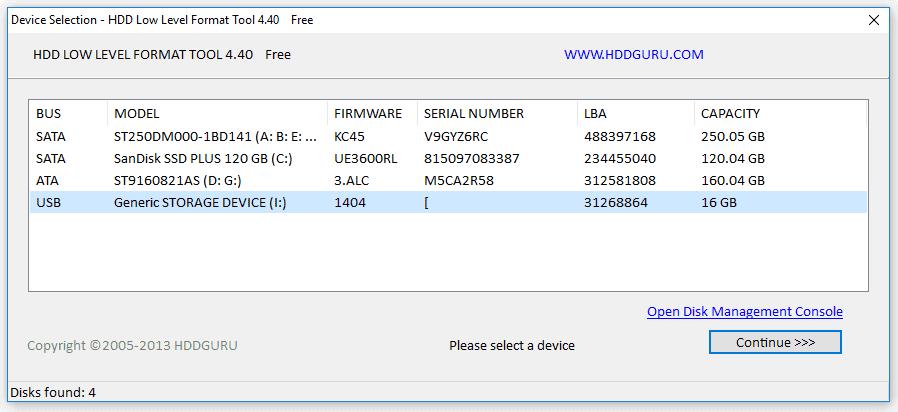 Format LLF Flashdisk