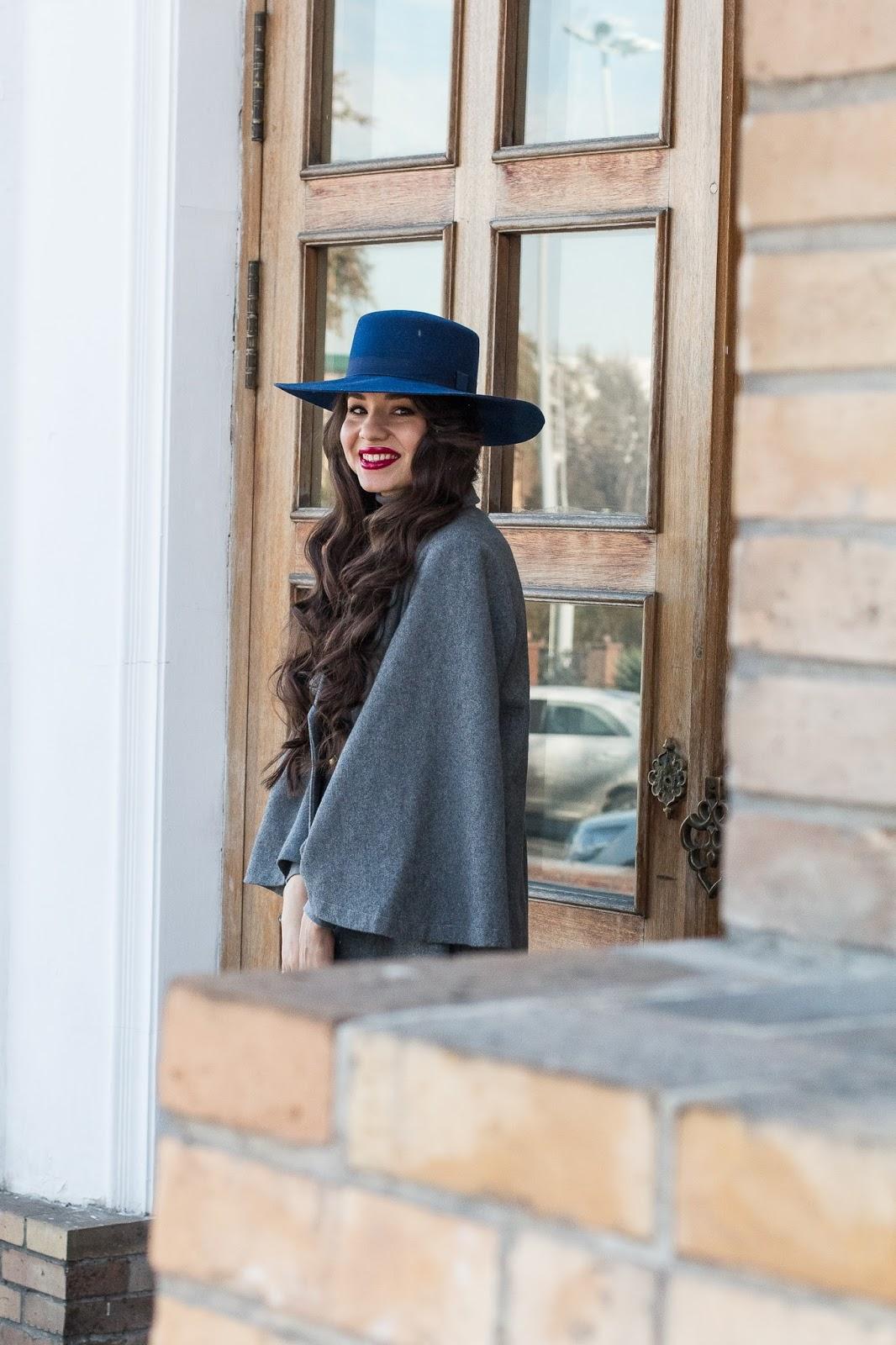 fashion blogger diyorasnotes diyora beta oversized hat asos polka dot skirt outfit of the day blue hat grey coat vipme