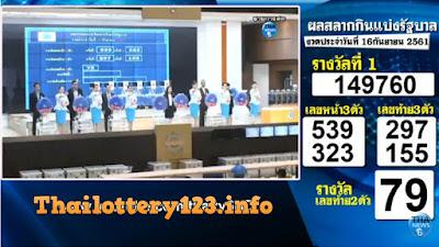 Thai Lottery 16 September 2018 Today Live Result Online TV Saudi