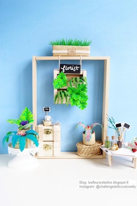 Vitrine boutique fleuriste miniature