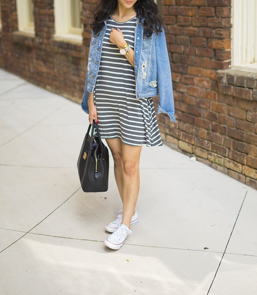 striped dress distressed denim jacket white converse easy summer outfits
