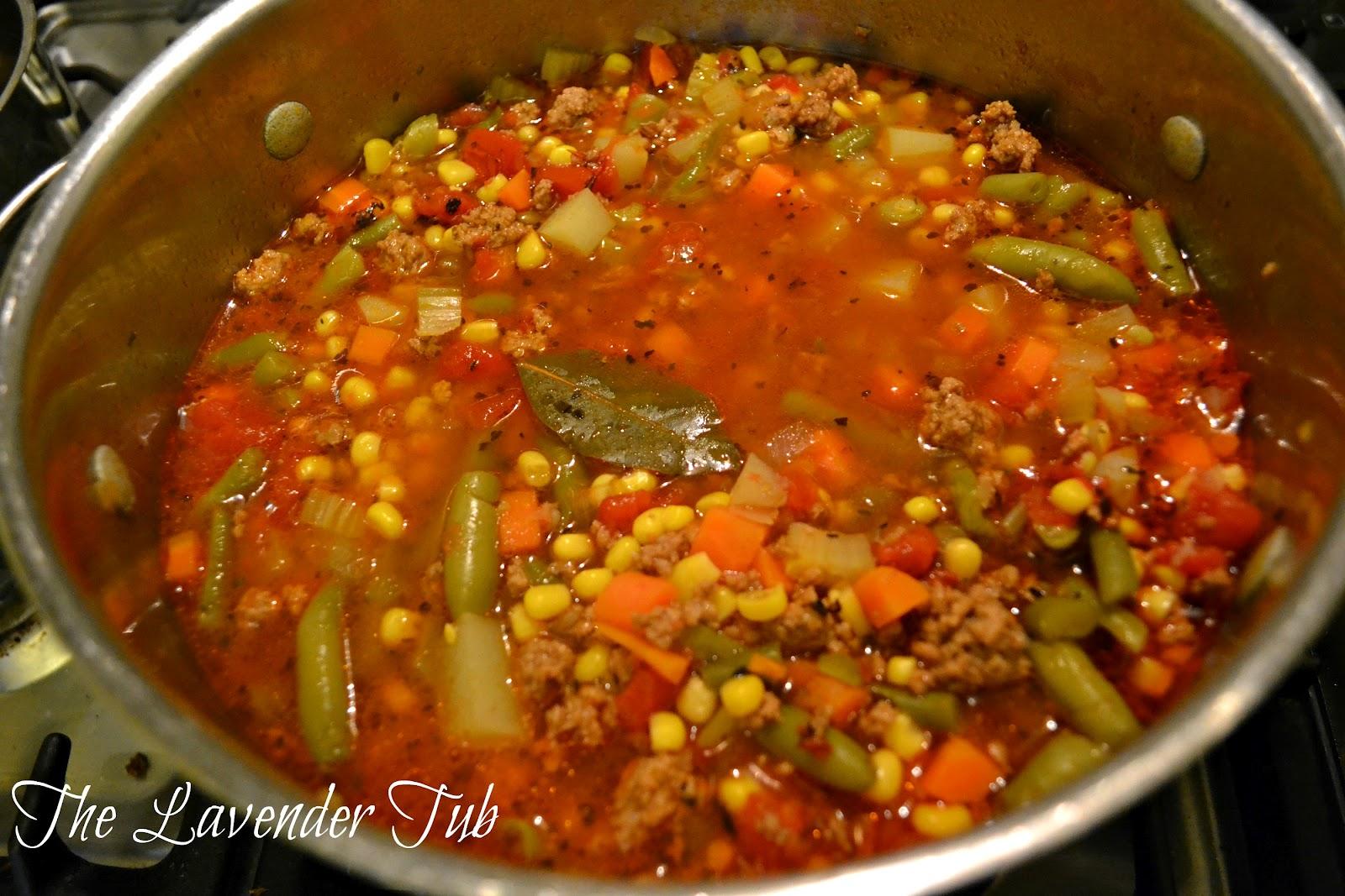 The Lavender Tub: Hamburger-Vegetable Soup