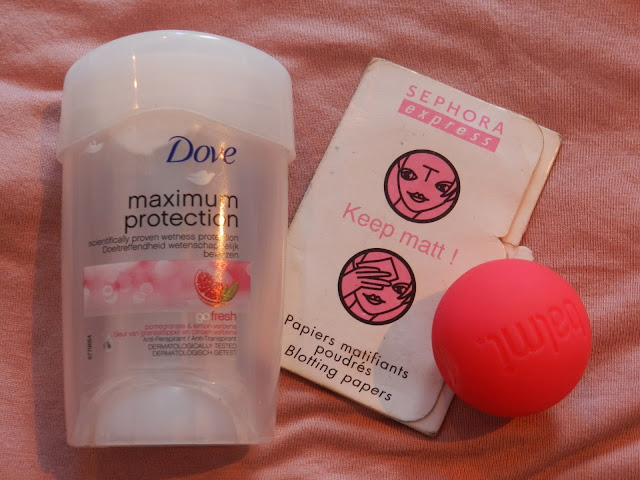 Dove Maximum Protection Anti Perspirant, Sephora Keep Matt! Blotting Papers & Balmi Raspberry Lip Balm