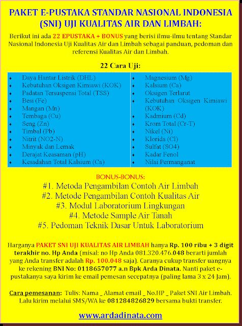 PAKET E-PUSTAKA STANDAR NASIONAL INDONESIA (SNI) UJI KUALITAS AIR DAN LIMBAH
