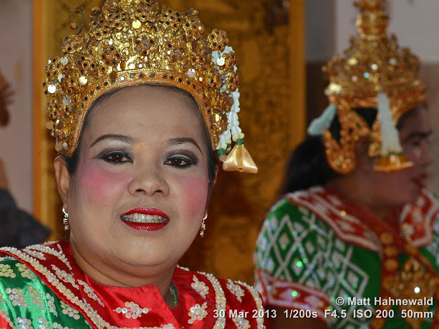 Facing the World, © Matt Hahnewald, closeup, portrait, headshot, Thailand, Bangkok, Wat Sri Bunruang, dancer, temple dance, ram Thai, traditional costume, traditional headdress, sequin-encrusted headdress