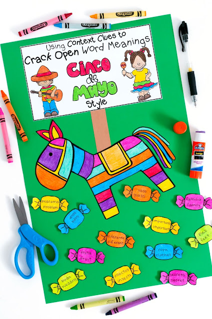 Cinco de Mayo Craftivity that includes two context clues worksheets!