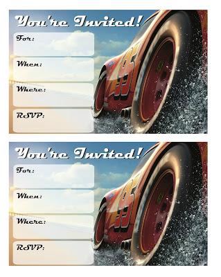 cars 3 free party printsbles