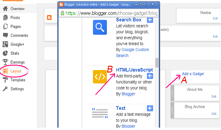 Create an search box in Blogger HTML/JavaScript Gadget