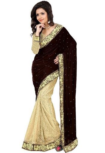 Brown Velvet Saree