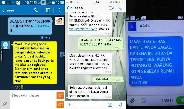 Kumpulan Gambar SMS Lucu saat Registrasi Kartu Prabayar dari 4444