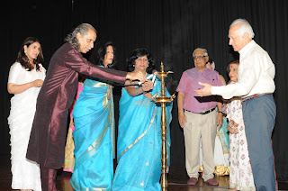 Pandit Jwala Prasad,Ranjana Narayan,  Shobha Deepak Singh, Harish Narula , Shovana Narayan and Mr. H. K. Dua lighting the lamp ceremony.
