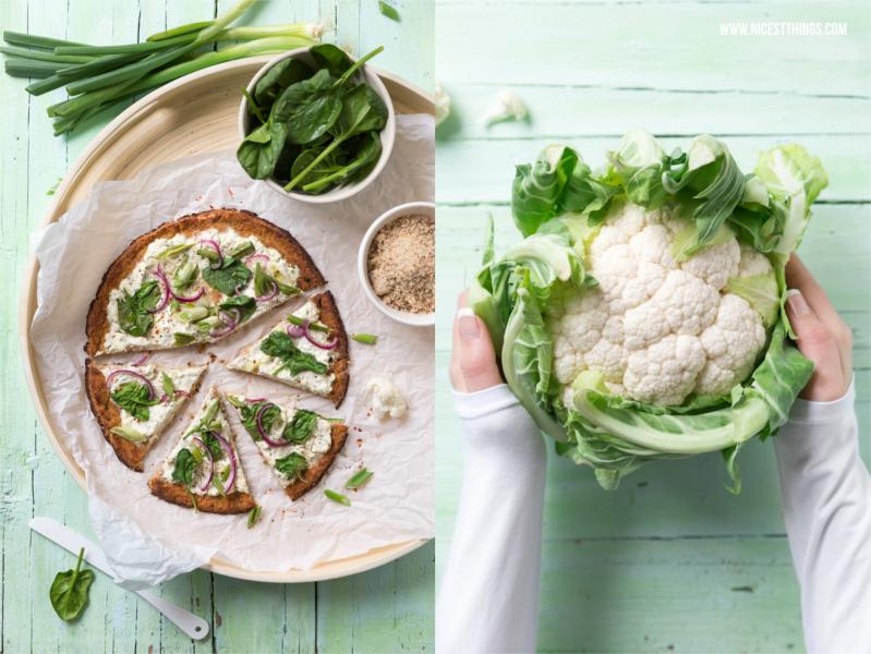 Blumenkohlpizza Pizzateig glutenfrei Low Carb mit Blumenkohl Rezept