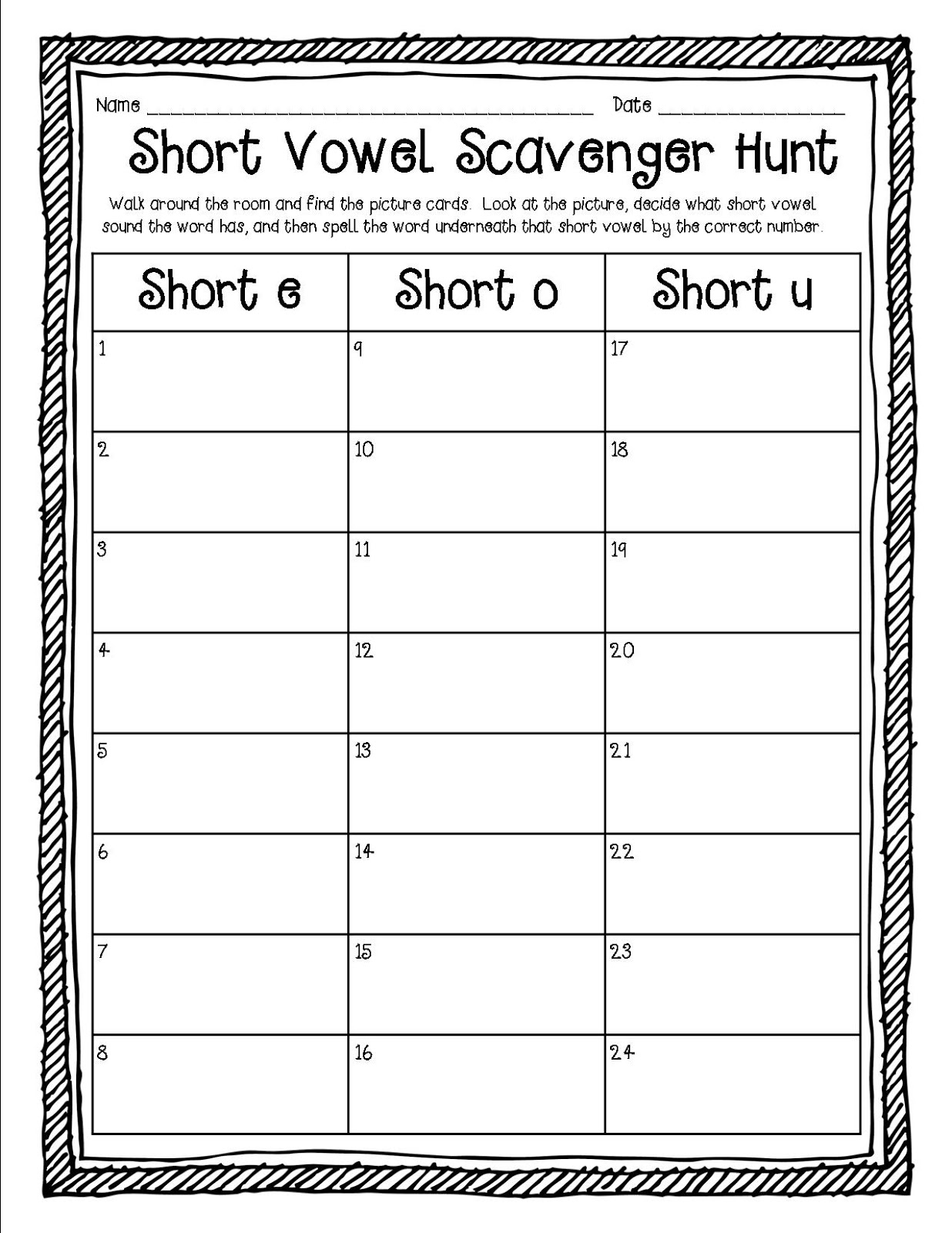 Simply Sweet Teaching Short Vowel Word Work Freebie