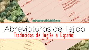 Abreviaturas de Tejido Dos Agujas y Crochet en Inglés y significado en Español