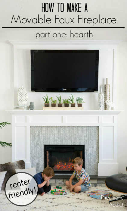 How to make a renter friendly faux fireplace with overmantle that you can pick up and move.