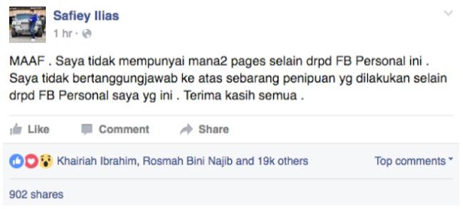 Benarkah Safiey Ilias Mahu Bagi Beg Berjenama Secara Percuma di Facebook?