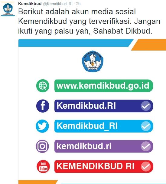 Akun Media Sosial Resmi Milik Kemendikbud yang Asli Terverifikasi 5 Akun Media Sosial Resmi Kemendikbud yang Asli Terverifikasi