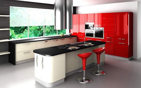 Desain Dapur Modern Mewah Nuansa Merah 01