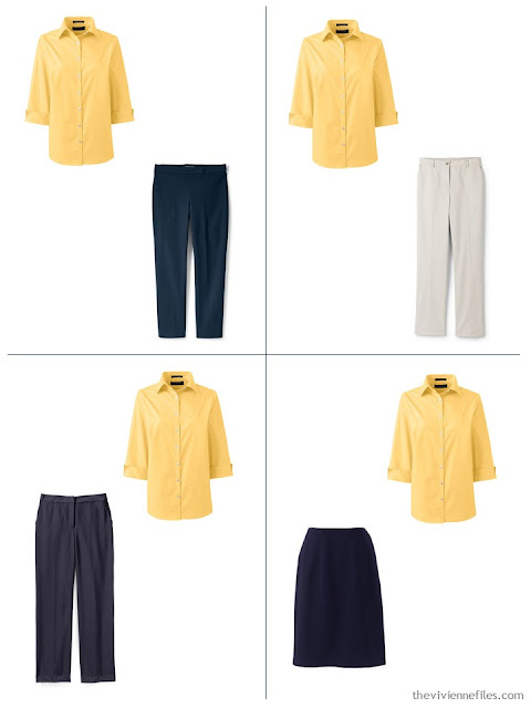 adding a yellow shirt to a spring capsule wardrobe