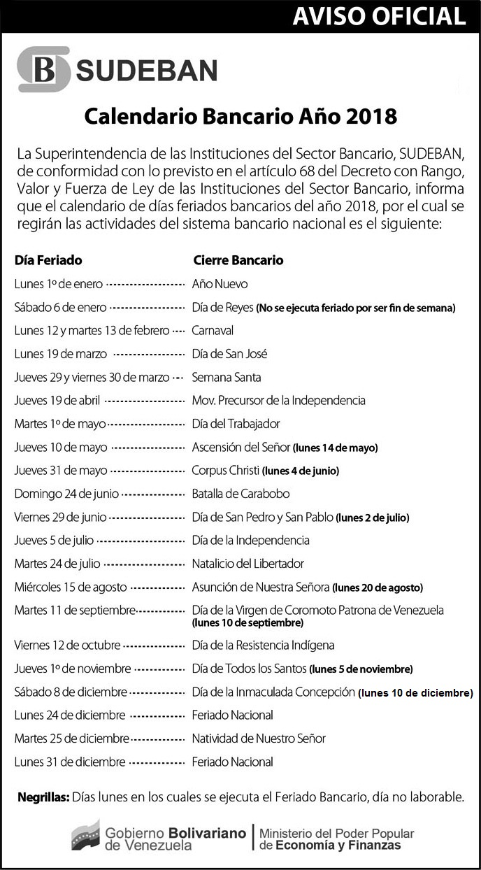 Calendario oficial bancario de Sudeban. Lunes bancarios. Días festivos de Venezuela en el 2018. Días feriados de Venezuela en el 2018. Calendario bancario de Venezuela 2018 Lunes-bancarios-Días-festivos-de-Venezuela-en-el-2018-Días-feriados-de-Venezuela-en-el-2018-Calendario-bancario-de-Venezuela-2018
