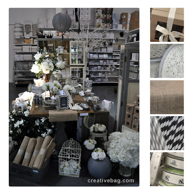 kraft, burlap and lace products from Creative Bag