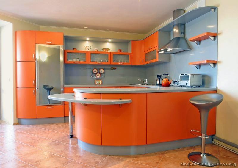 Amazing Orange Kitchens Cabinets Modern