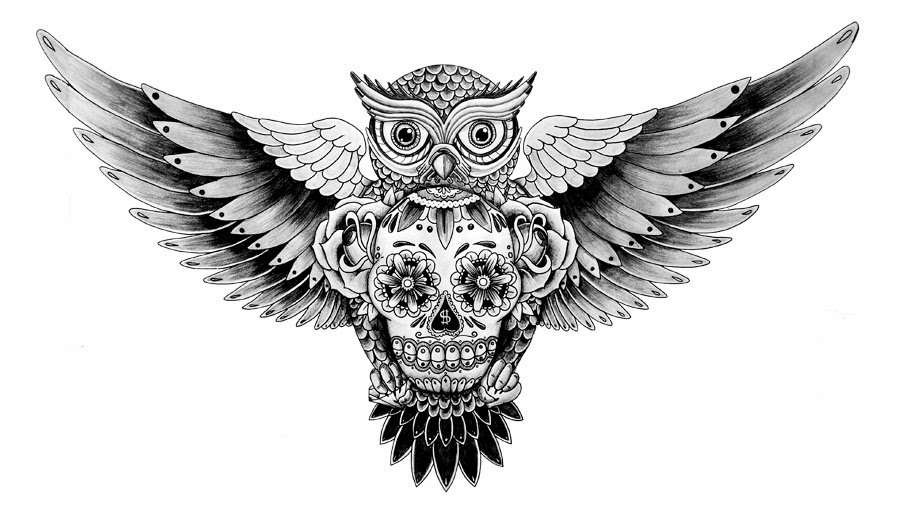 Owl with sugar skull tattoo stencil