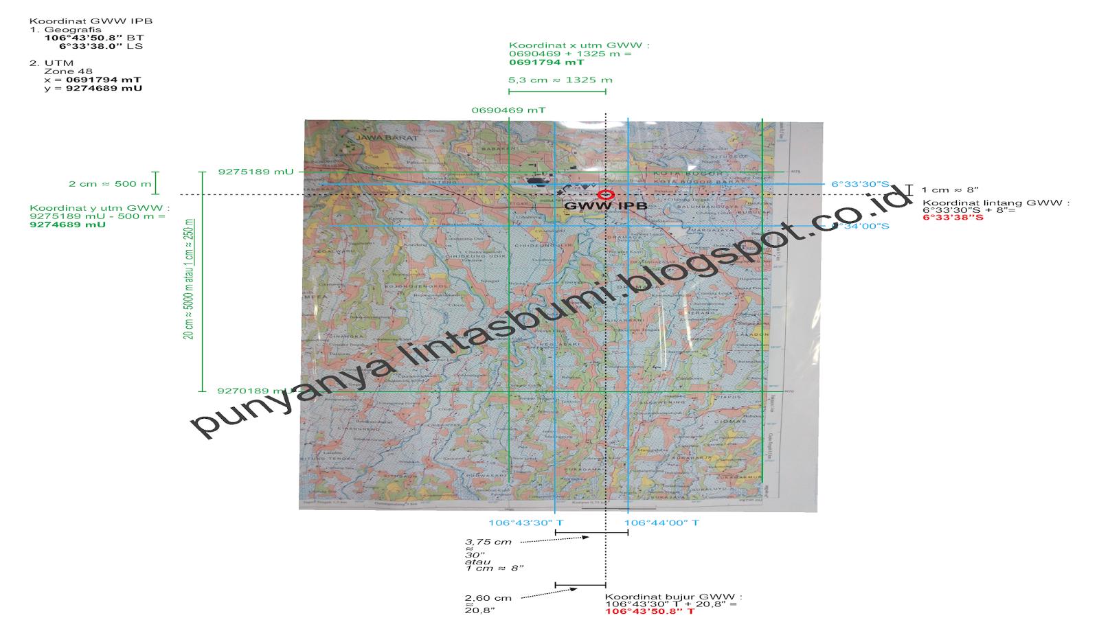 Menentukan Koordinat Titik Di Peta RBI Skala 1 : 25.000 ...
