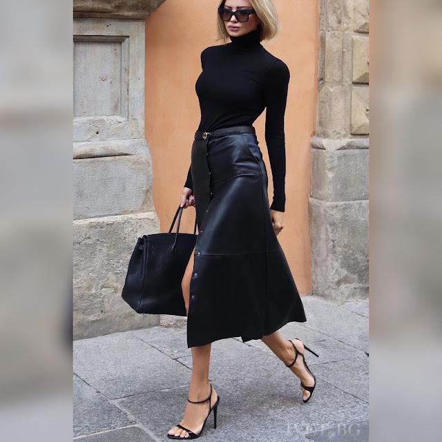 Ψηλόμεση  μαύρη φούστα TORIL