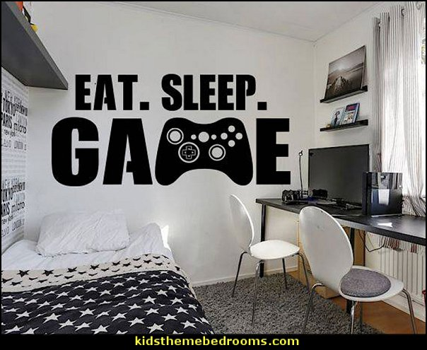 Gamer Wall Decal Sticker  Gamer bedroom - Video game room decor - gamer bedroom furniture - gamer wall decal stickers - Super Mario Brothers Wall Stickers - gamer bedding - Super Mario Brothers bedding - Pacman decor -  Retro Arcade bedrooms - 80s video gamers - gamer throw pllows - minecraft bedroom ideas - minecraft bedroom decor