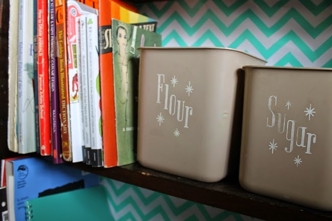 vintage kitchen canisters to hold office supplies
