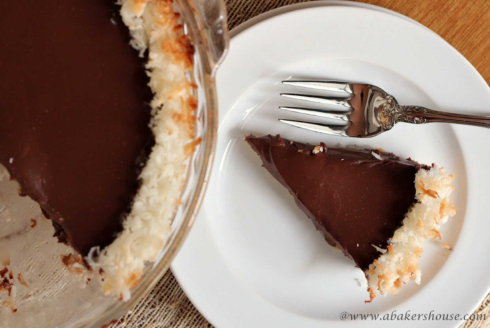 Slice of coconut chocolate pie