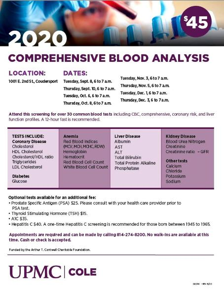 10-6/8 Comprehensive Blood Analysis, Coudersport