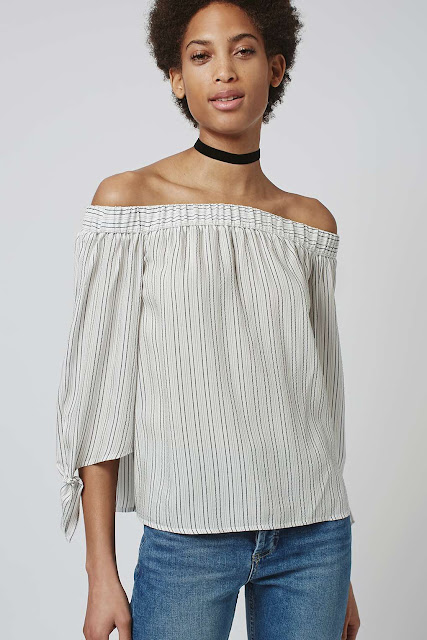stripe bardot blouse, cotton bardot top, topshop off shoulder top, off shoulder stripe top,