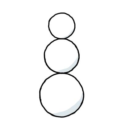 Kolme ympyrää, jotka hädin tuskin hipaisevat toisiaan.