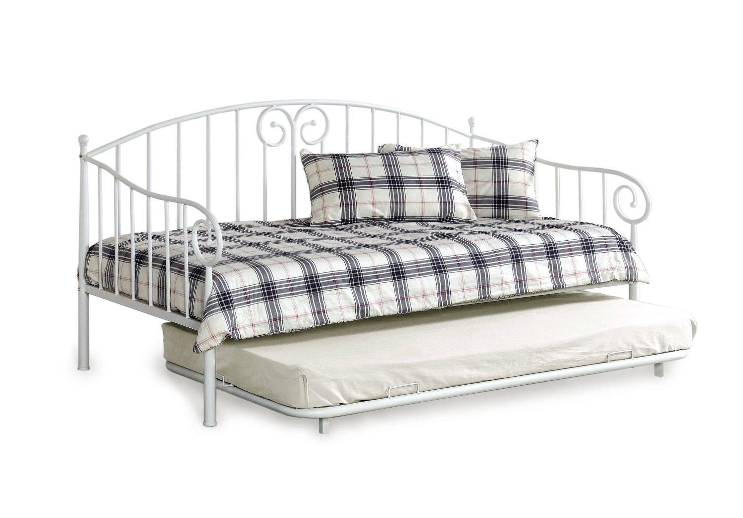 White Metal Frame Daybed With Trundle Roll Out Amp Pop Up