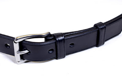 Black leather belt for man with hypoallergenic stainless steel buckle, handmade and made to measure