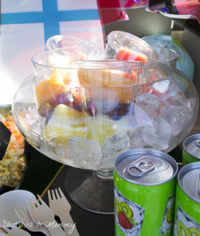 Make your own fruit cups with lidded cups; easy to carry for a soccer tailgate party