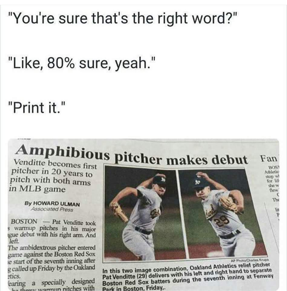 Author uses Amphibious instead of Ambidextrous