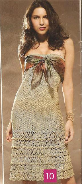 Patrón #1464: Vestido a Crochet