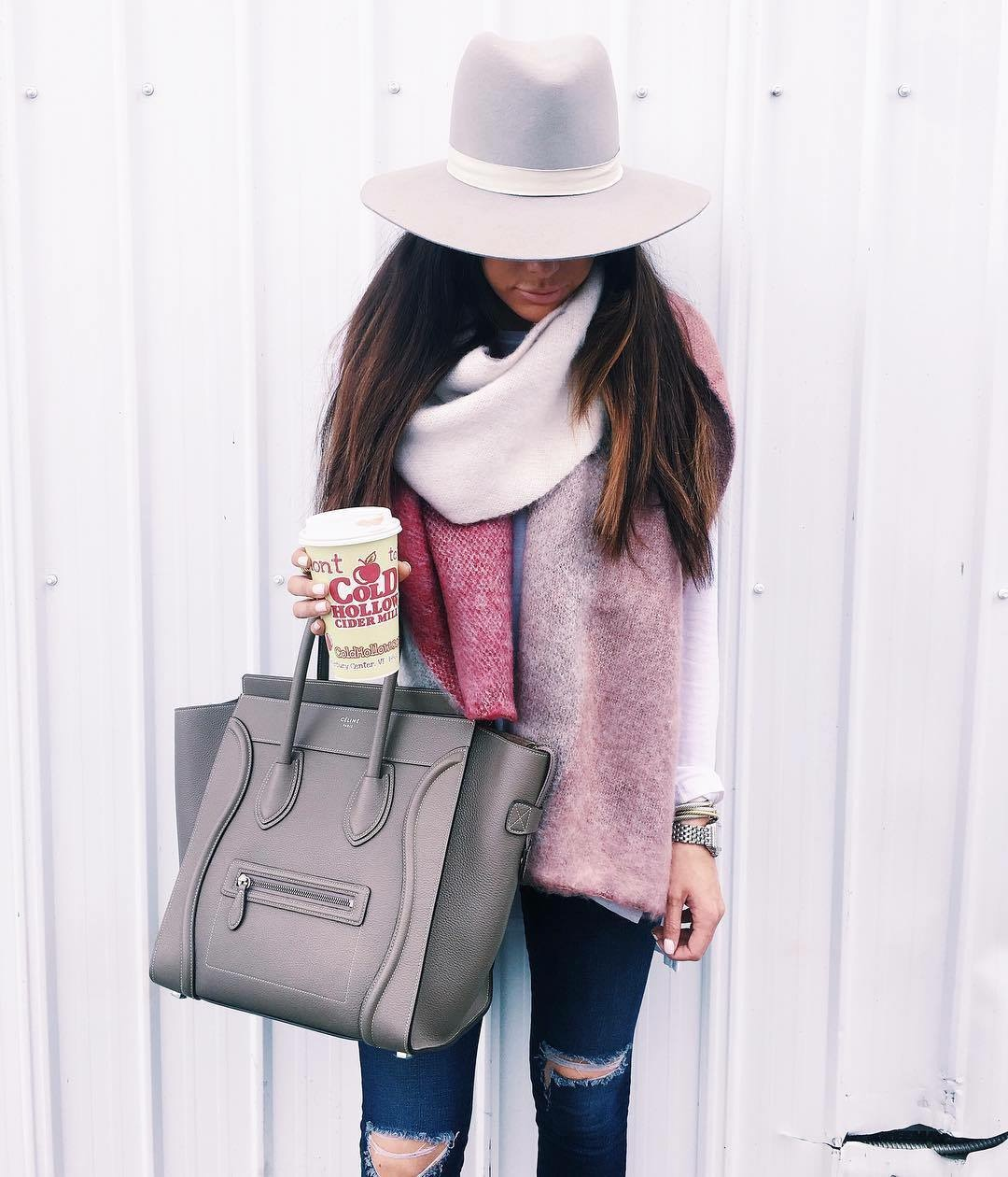 emily gemma, the sweetest thing blog, Taupe celine mini luggage, ASOS fluffy oversized scarf, AG ripped skinny jeans, janessa leone hennsington hat, fall outfit ideas, travel blog, Cold hollow cider mill, travel blogger, fashion blogger, fall outfits and locations
