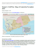 Map of territorial control in Yemen as of November 17, 2015, including territory held by the Houthi rebels and former president Saleh's forces, president-in-exile Hadi and his allies in the Saudi-led coalition and Southern Movement, and Al Qaeda in the Arabian Peninsula (AQAP). Includes recent areas of fighting, such as Taiz, Wadiah, Bayda, Marib, Mukayras, Mocha, Dhubab, and the Bab al-Mandeb Strait.