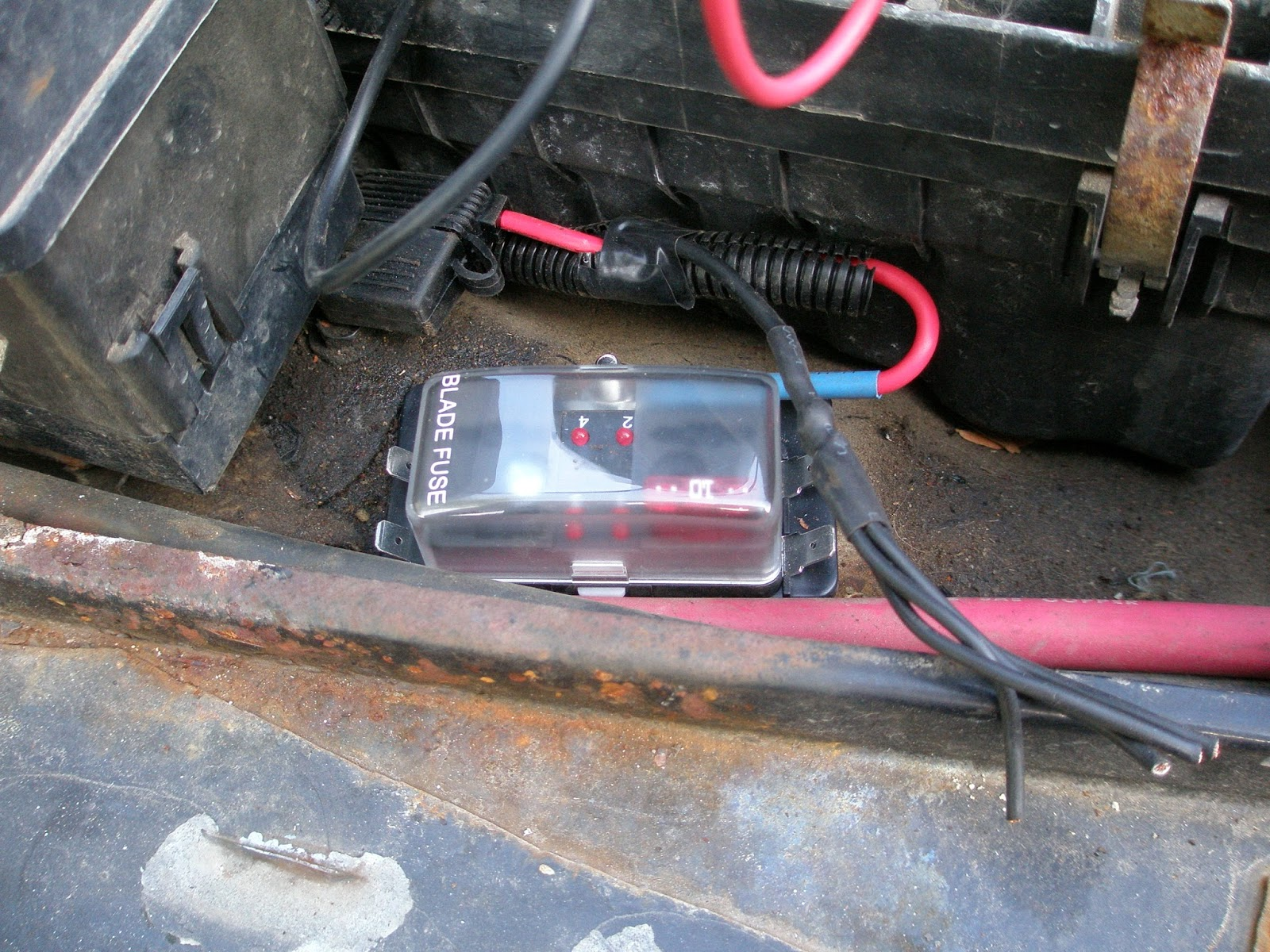 The Jeep Garage Adding Some Extra Light Accessory Fuse Box For To Begin I Needed Wired In A New Switch Block And Relay Lights Themselves At 18 Watt Each Total Of 36 Watts 12 Volts Thats Only