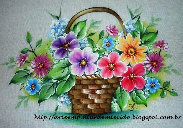 pintura em tecido cesta de flores pano de prato