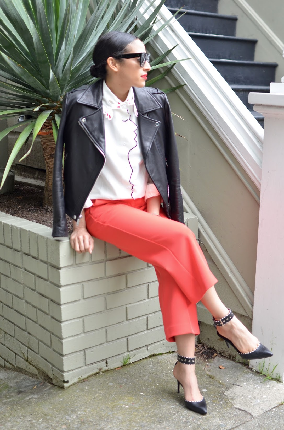 The Harbingers online store, Finger collar shirt, Coach leather moto jacket, Coach, Express red cropped pants, Céline sunglasses, Céline cateye sunglasses, red lipstick, Stila Beso lipstick, brian atwood heels