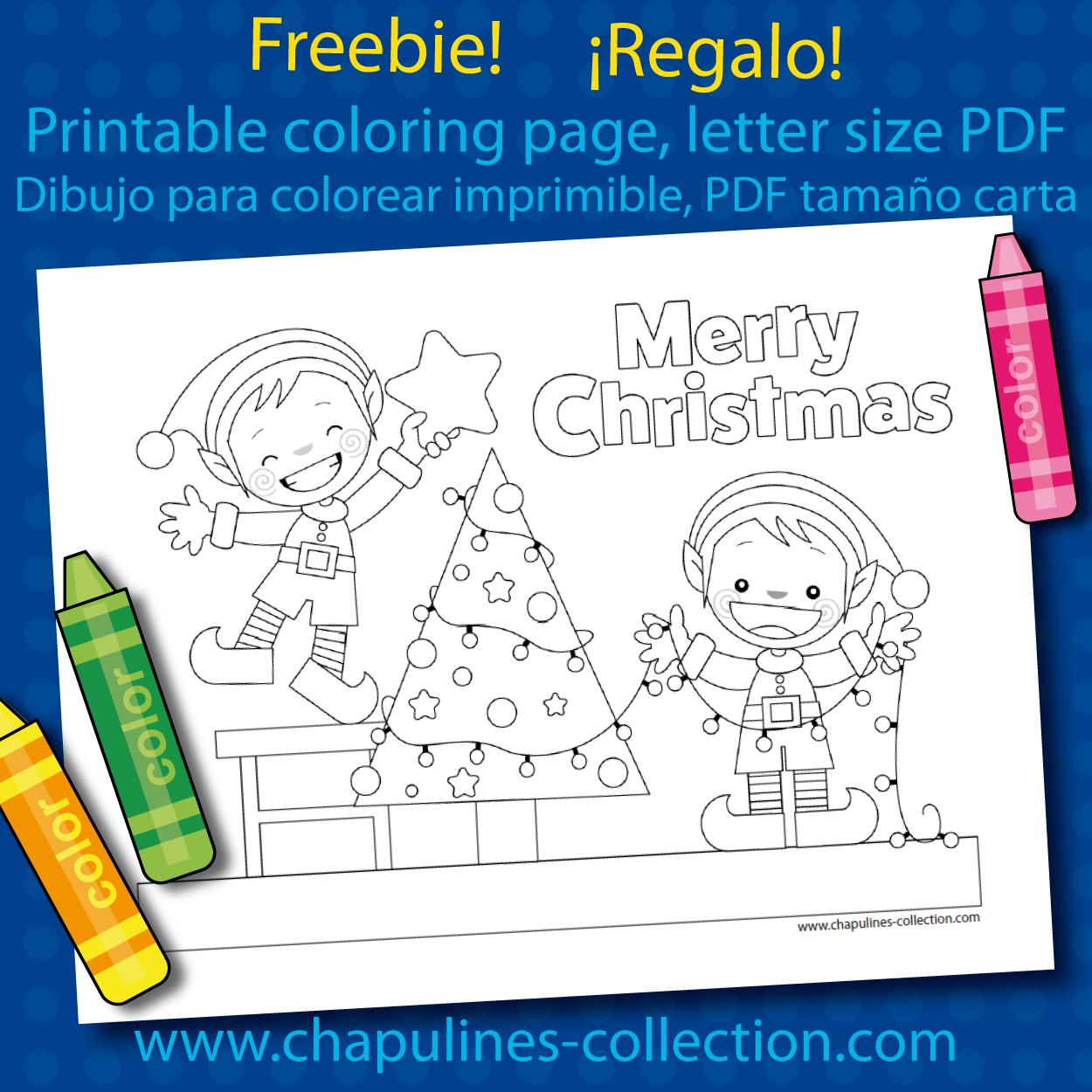 Chapulines Collection en Español: Dibujo para colorear de Navidad