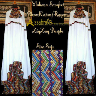 Motif Mukena Songket Prada Bali Paling Anyar  Zig Zag Purple